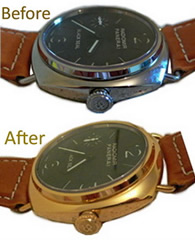 Watch plating before and after