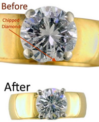Before & after diamond ring resizing